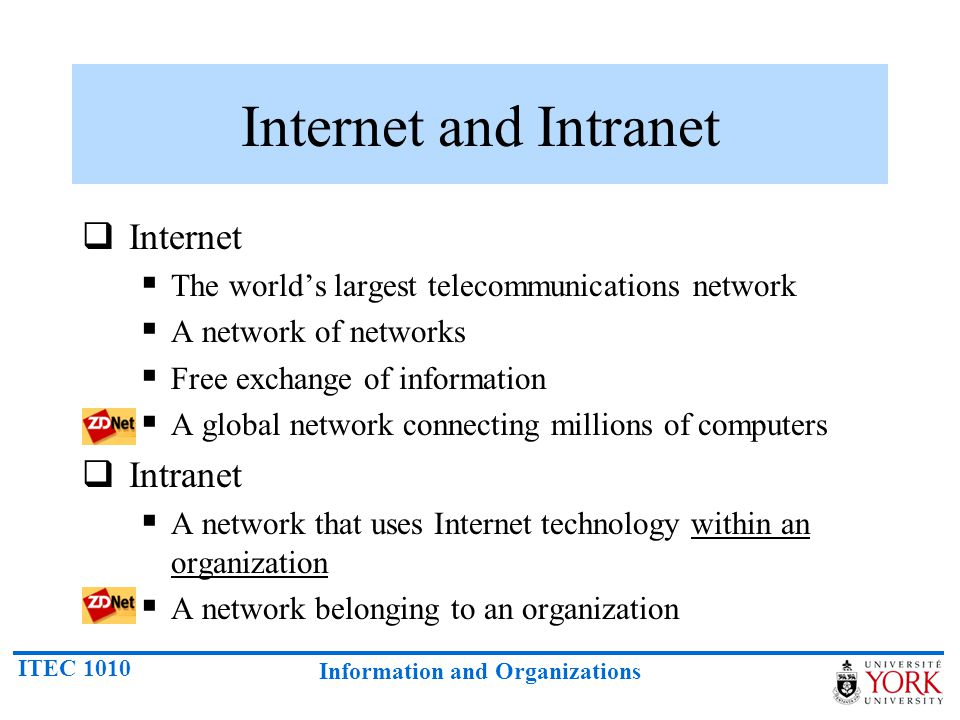 ITEC 1010 Information and Organizations Internet and Intranet  Internet  The world's largest telecommunications network  A network of networks  Free exchange of information  A global network connecting millions of computers  Intranet  A network that uses Internet technology within an organization  A network belonging to an organization
