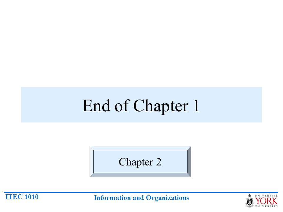 ITEC 1010 Information and Organizations End of Chapter 1 Chapter 2