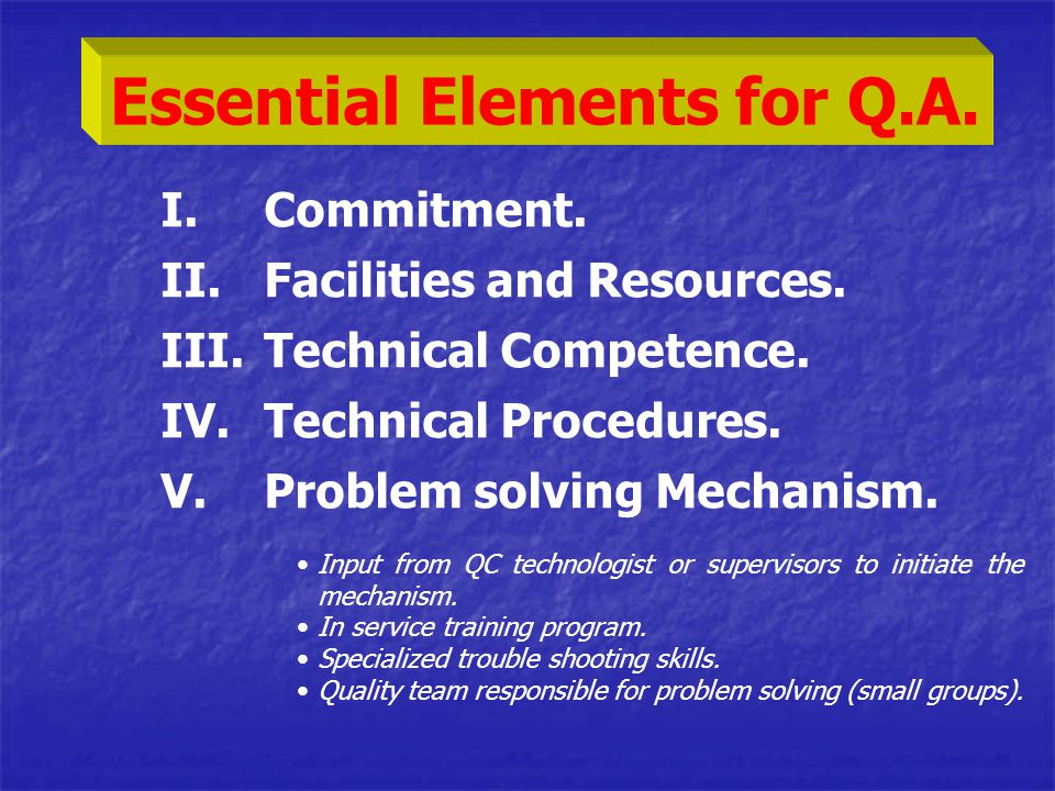 I.Commitment. II.Facilities and Resources. III.Technical Competence. IV.Technical Procedures. V.Problem solving Mechanism. Essential Elements for Q.A.