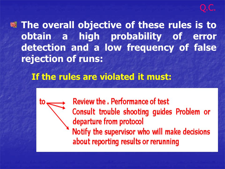 The overall objective of these rules is to obtain a high probability of error detection and a low frequency of false rejection of runs: If the rules a