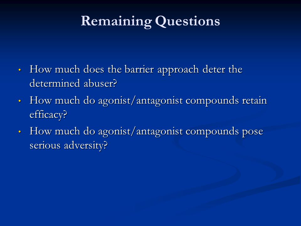 Remaining Questions How much does the barrier approach deter the determined abuser? How much does the barrier approach deter the determined abuser? Ho