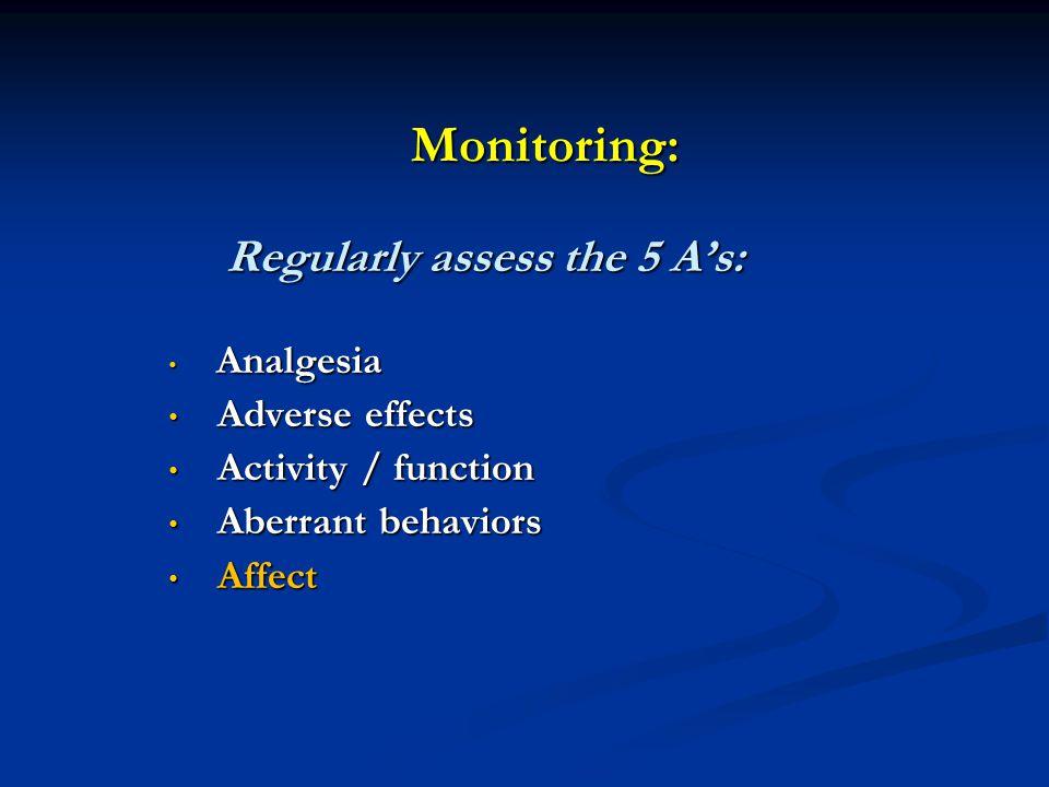 Monitoring: Regularly assess the 5 A's: Regularly assess the 5 A's: Analgesia Analgesia Adverse effects Adverse effects Activity / function Activity /