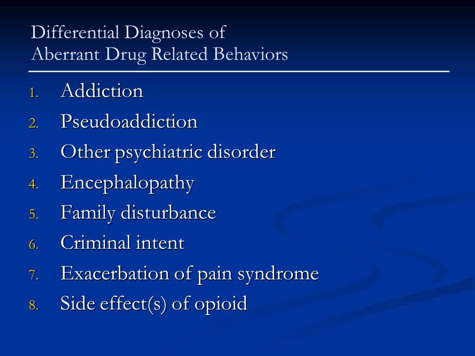 1. Addiction 2. Pseudoaddiction 3. Other psychiatric disorder 4. Encephalopathy 5. Family disturbance 6. Criminal intent 7. Exacerbation of pain syndr