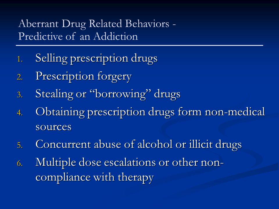 "1. Selling prescription drugs 2. Prescription forgery 3. Stealing or ""borrowing"" drugs 4. Obtaining prescription drugs form non-medical sources 5. Con"