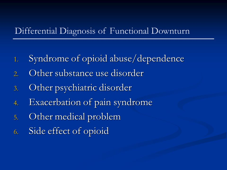 1. Syndrome of opioid abuse/dependence 2. Other substance use disorder 3. Other psychiatric disorder 4. Exacerbation of pain syndrome 5. Other medical