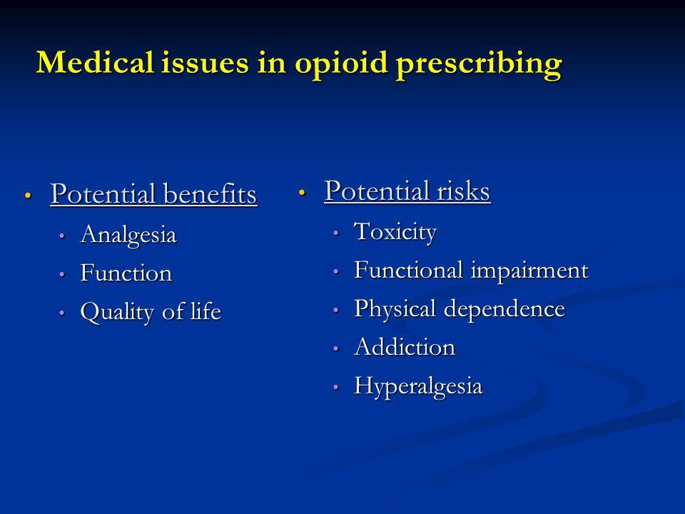 Medical issues in opioid prescribing Potential benefits Potential benefits Analgesia Analgesia Function Function Quality of life Quality of life Poten