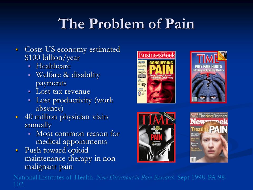 Commonly reported association of persistent pain with psychological illness.