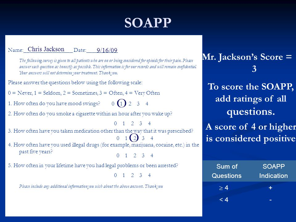 SOAPP Mr. Jackson's Score = 3 To score the SOAPP, add ratings of all questions. A score of 4 or higher is considered positive Sum of Questions SOAPP I