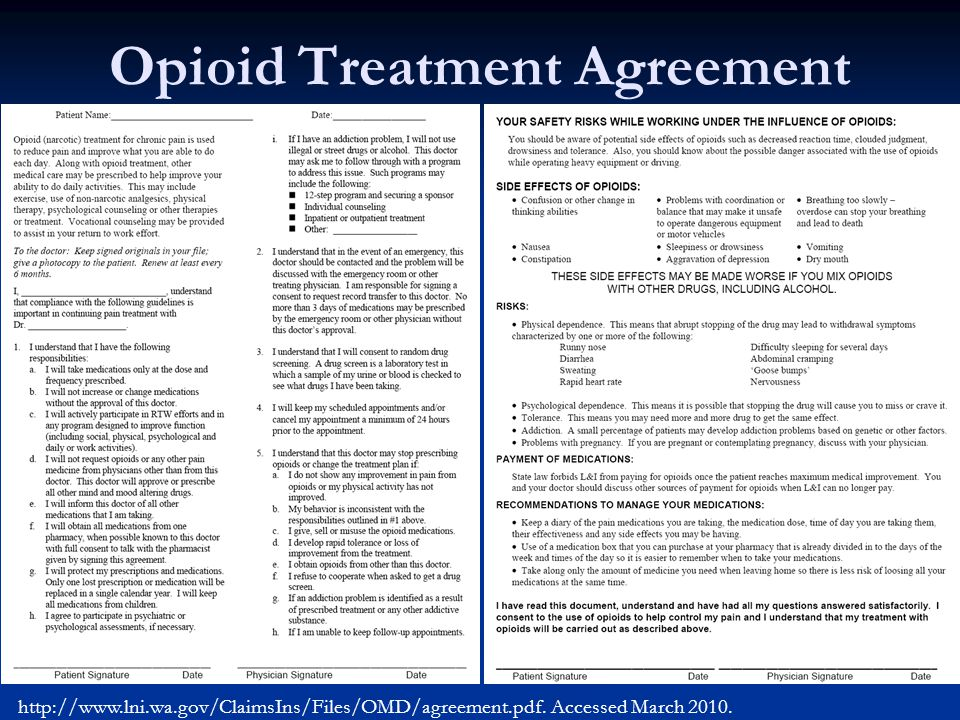 Opioid Treatment Agreement http://www.lni.wa.gov/ClaimsIns/Files/OMD/agreement.pdf. Accessed March 2010.
