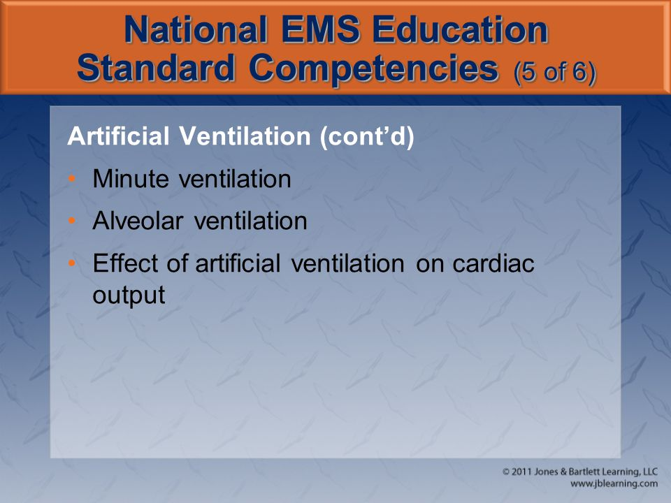 National EMS Education Standard Competencies (5 of 6) Artificial Ventilation (cont'd) Minute ventilation Alveolar ventilation Effect of artificial ven