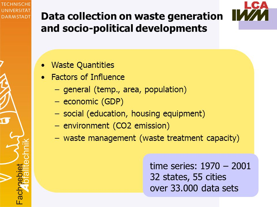8 Waste Quantities Factors of Influence –general (temp., area, population) –economic (GDP) –social (education, housing equipment) –environment (CO2 emission) –waste management (waste treatment capacity) Data collection on waste generation and socio-political developments time series: 1970 – 2001 32 states, 55 cities over 33.000 data sets
