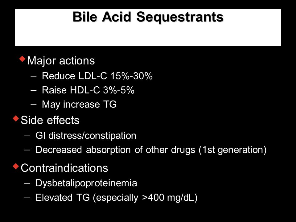 Bile Acid Sequestrants  Major actions  Reduce LDL-C 15%-30%  Raise HDL-C 3%-5%  May increase TG  Side effects  GI distress/constipation  Decrea