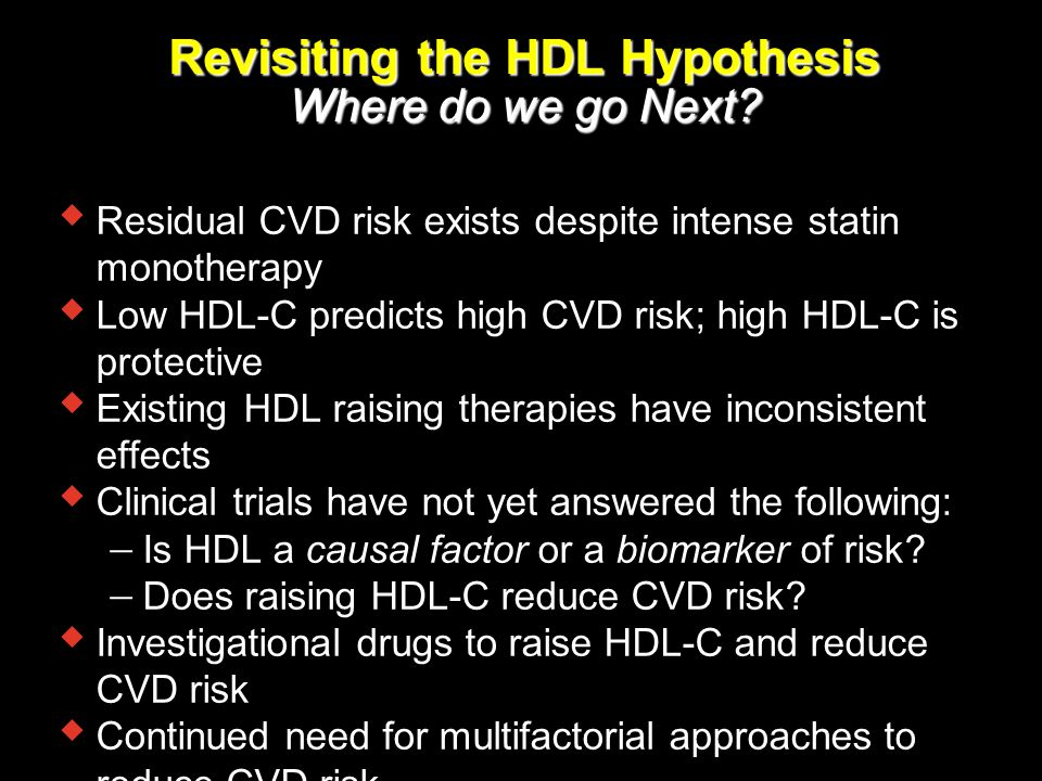 Revisiting the HDL Hypothesis Where do we go Next?  Residual CVD risk exists despite intense statin monotherapy  Low HDL-C predicts high CVD risk; h