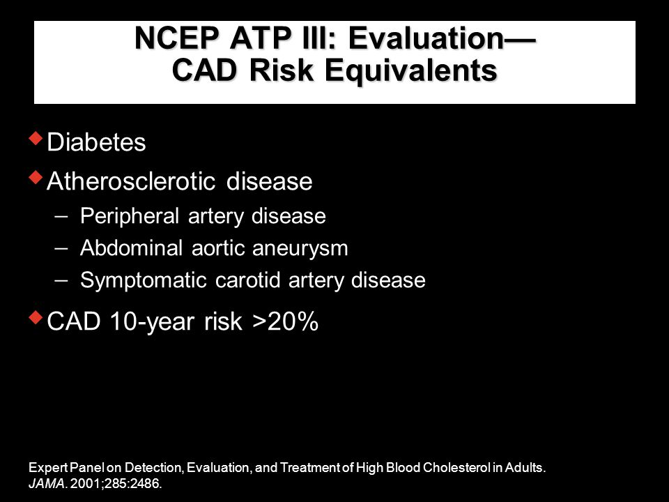NCEP ATP III: Evaluation— CAD Risk Equivalents  Diabetes Expert Panel on Detection, Evaluation, and Treatment of High Blood Cholesterol in Adults. JA