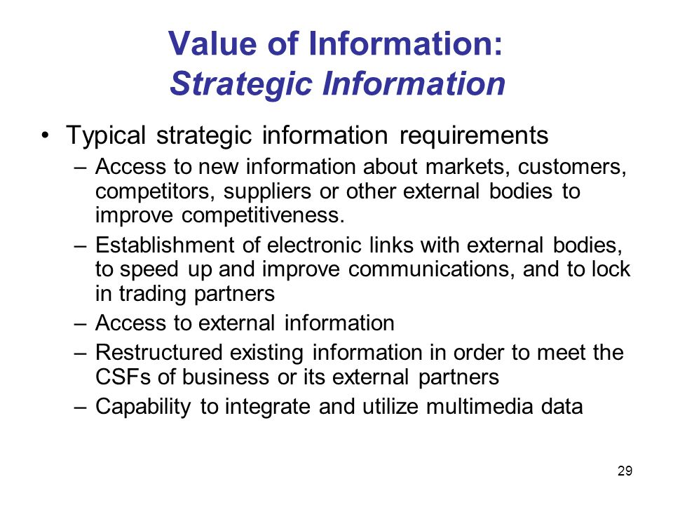 29 Value of Information: Strategic Information Typical strategic information requirements –Access to new information about markets, customers, competi