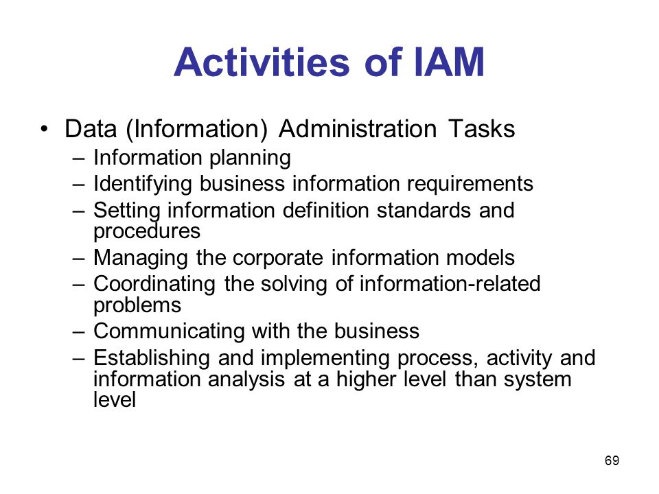 69 Activities of IAM Data (Information) Administration Tasks –Information planning –Identifying business information requirements –Setting information
