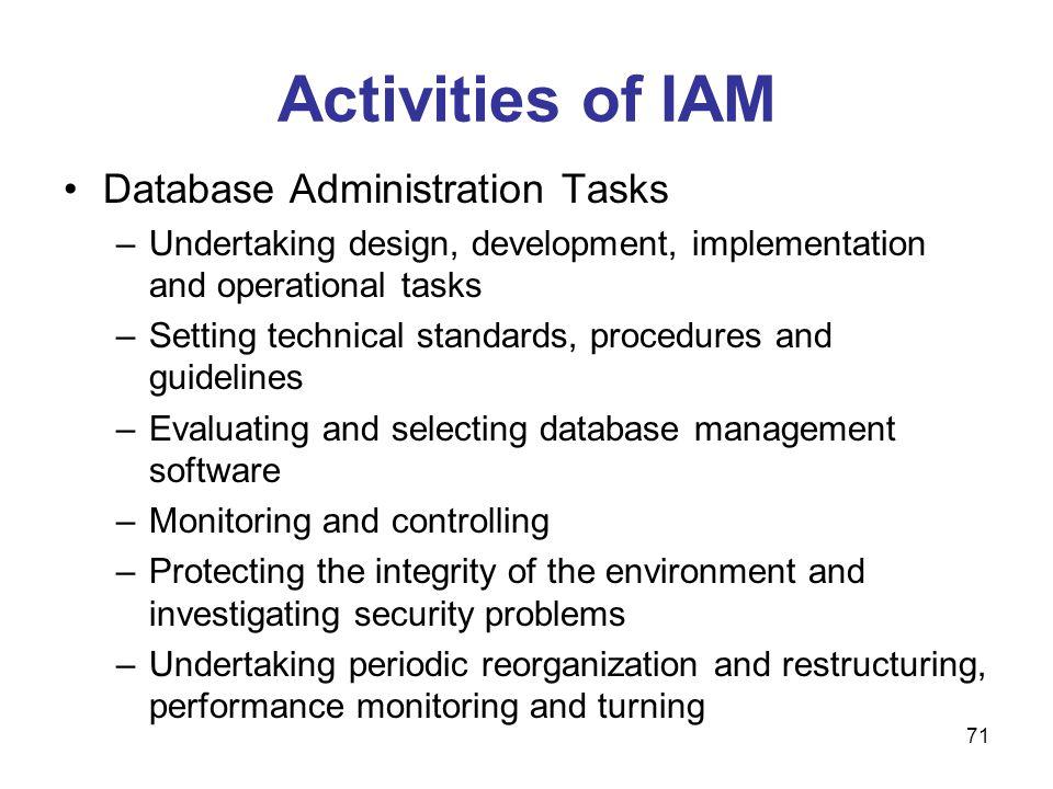 71 Activities of IAM Database Administration Tasks –Undertaking design, development, implementation and operational tasks –Setting technical standards