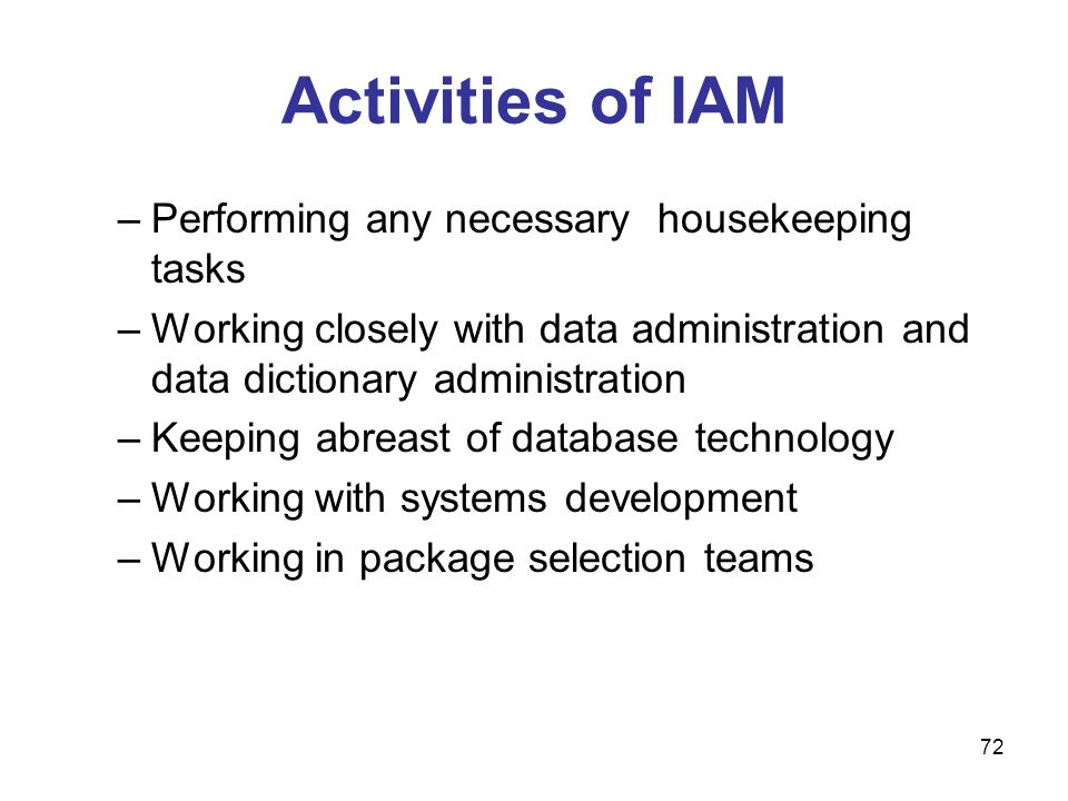 72 Activities of IAM –Performing any necessary housekeeping tasks –Working closely with data administration and data dictionary administration –Keepin