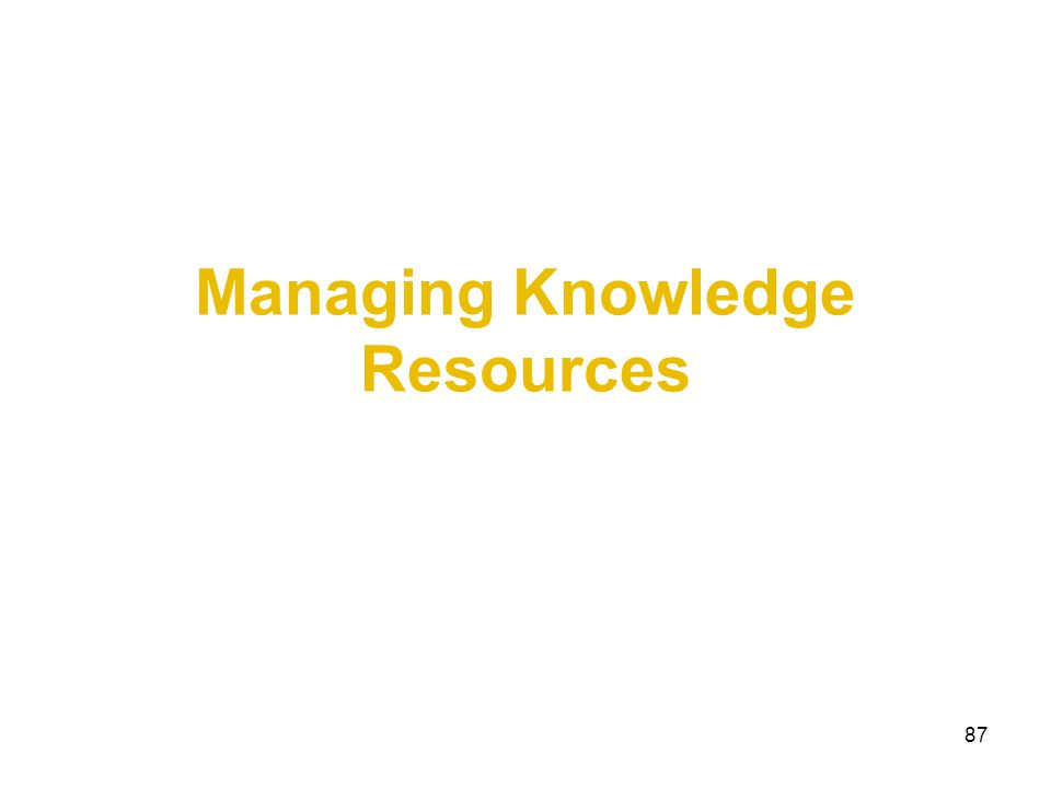 87 Managing Knowledge Resources