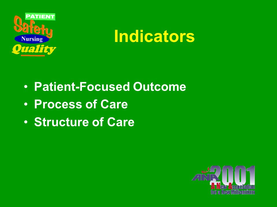 Indicator Selection Criteria Specificity to nursing Ability to be tracked Widely regarded as having strong link to nursing quality Subset of indicator