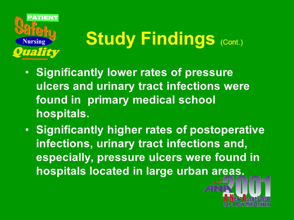 Study Findings (Cont.) Lower rates of bacterial/unspecified pneumonia complications were related to a richer staffing mix. [the one exception being wi