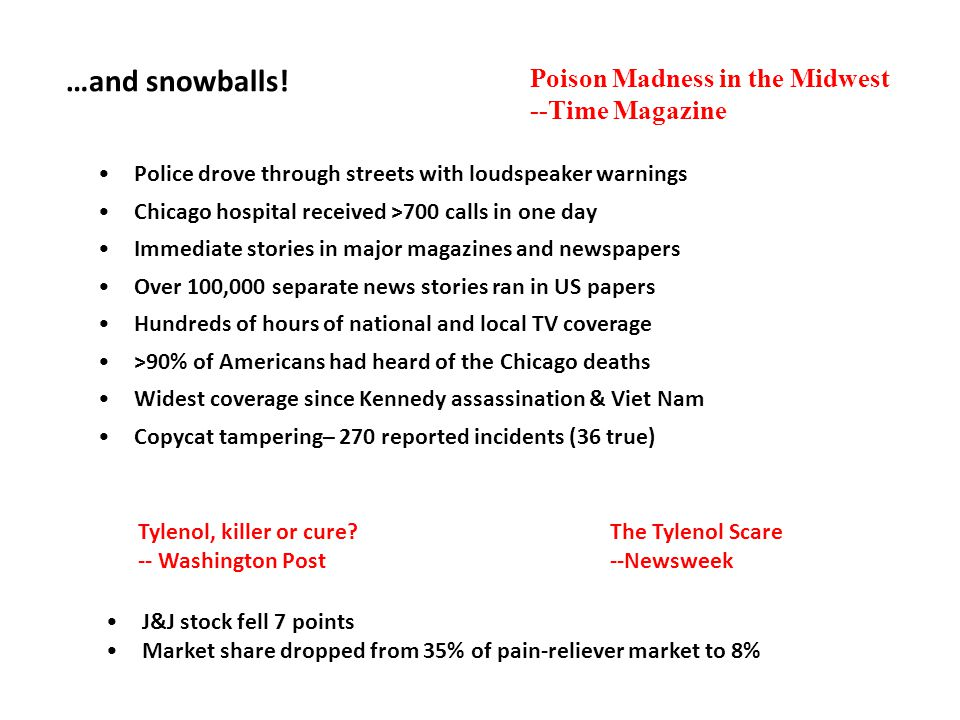 …and snowballs! Police drove through streets with loudspeaker warnings Chicago hospital received >700 calls in one day Immediate stories in major maga
