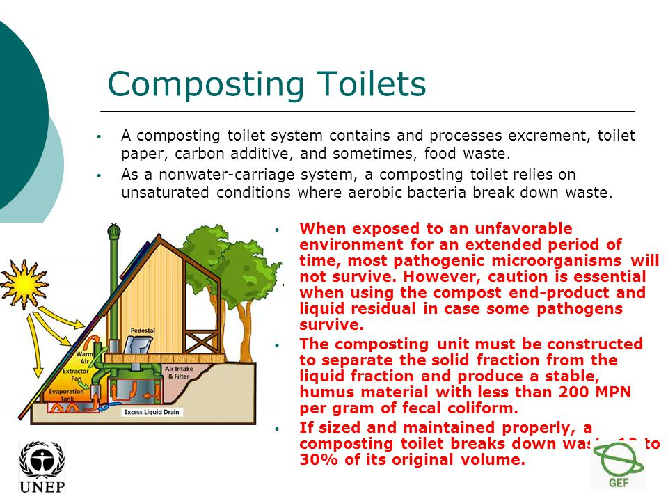 Composting Toilets A composting toilet system contains and processes excrement, toilet paper, carbon additive, and sometimes, food waste.