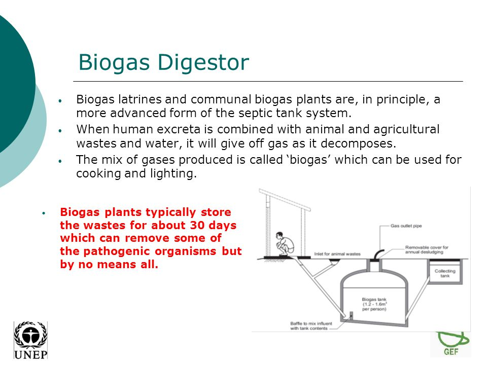 Biogas Digestor Biogas latrines and communal biogas plants are, in principle, a more advanced form of the septic tank system.