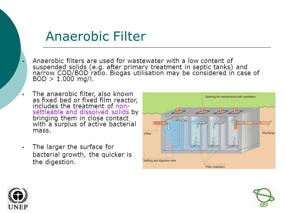 Anaerobic Filter Anaerobic filters are used for wastewater with a low content of suspended solids (e.g.