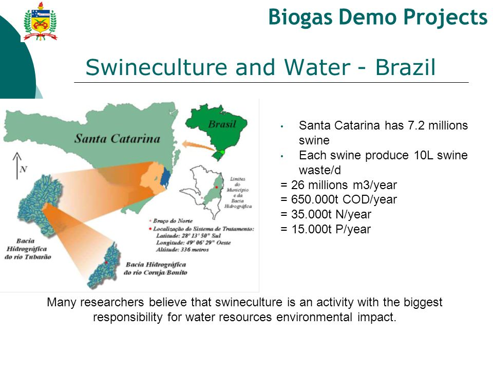 Santa Catarina has 7.2 millions swine Each swine produce 10L swine waste/d = 26 millions m3/year = 650.000t COD/year = 35.000t N/year = 15.000t P/year Many researchers believe that swineculture is an activity with the biggest responsibility for water resources environmental impact.