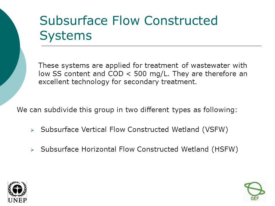 Subsurface Vertical Flow Constructed Wetland (SVFW) In SVFW the wastewater is loaded onto the planted filter bed's surface.