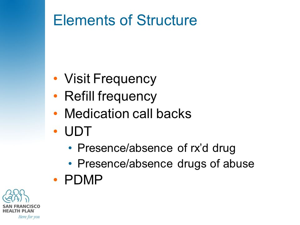 Elements of Structure Visit Frequency Refill frequency Medication call backs UDT Presence/absence of rx'd drug Presence/absence drugs of abuse PDMP