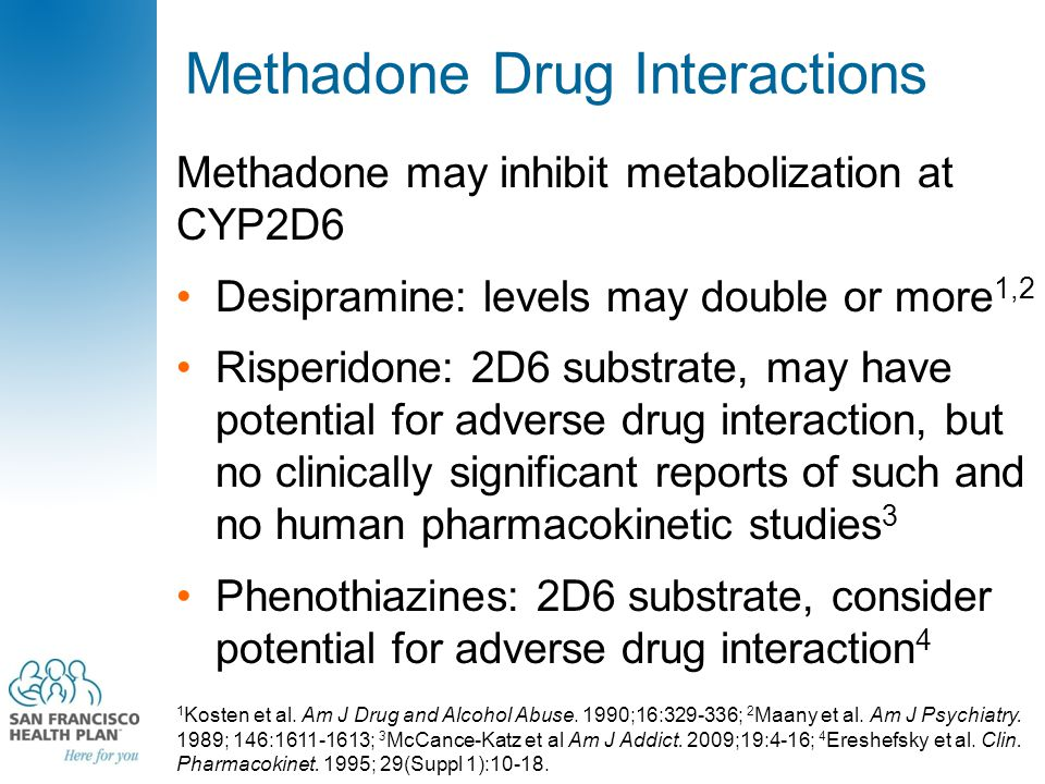 Methadone Drug Interactions Methadone may inhibit metabolization at CYP2D6 Desipramine: levels may double or more 1,2 Risperidone: 2D6 substrate, may have potential for adverse drug interaction, but no clinically significant reports of such and no human pharmacokinetic studies 3 Phenothiazines: 2D6 substrate, consider potential for adverse drug interaction 4 1 Kosten et al.