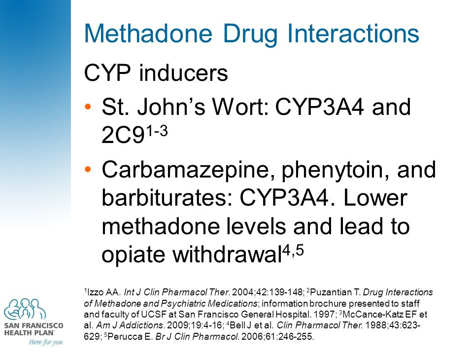 Methadone Drug Interactions CYP inducers St. John's Wort: CYP3A4 and 2C9 1-3 Carbamazepine, phenytoin, and barbiturates: CYP3A4. Lower methadone level