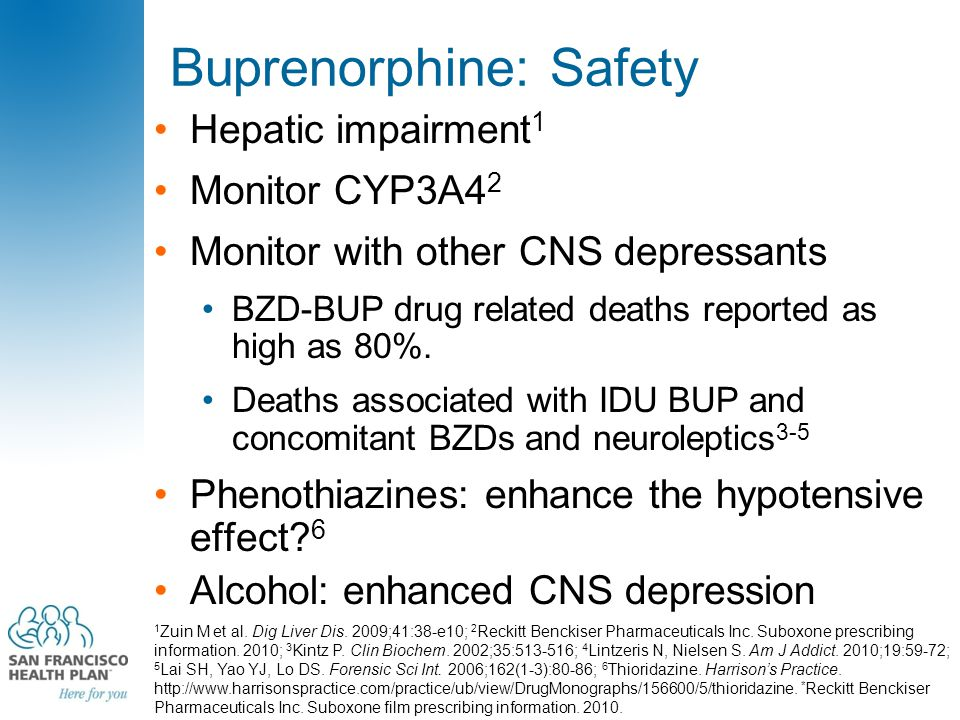 Buprenorphine: Safety Hepatic impairment 1 Monitor CYP3A4 2 Monitor with other CNS depressants BZD-BUP drug related deaths reported as high as 80%.