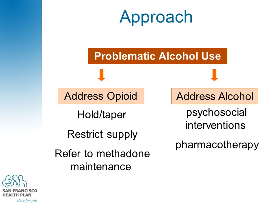 Approach Problematic Alcohol Use Address Opioid Address Alcohol psychosocial interventions pharmacotherapy Hold/taper Restrict supply Refer to methadone maintenance