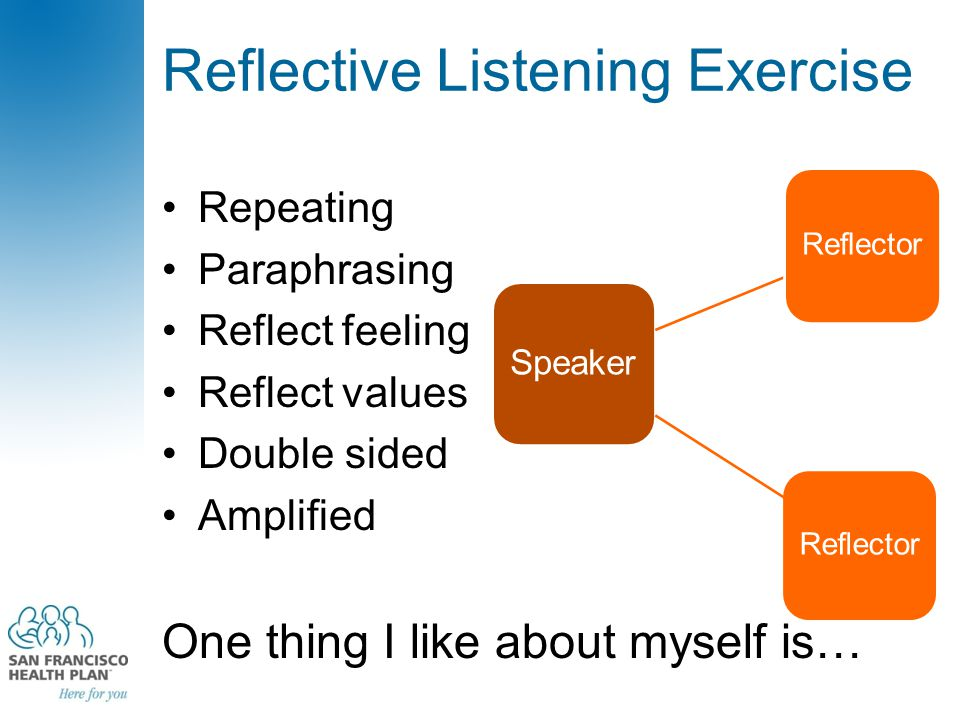 Reflective Listening Exercise Repeating Paraphrasing Reflect feeling Reflect values Double sided Amplified One thing I like about myself is… Speaker R