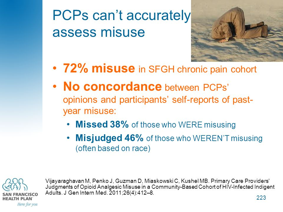 PCPs can't accurately assess misuse 72% misuse in SFGH chronic pain cohort No concordance between PCPs' opinions and participants' self-reports of pas