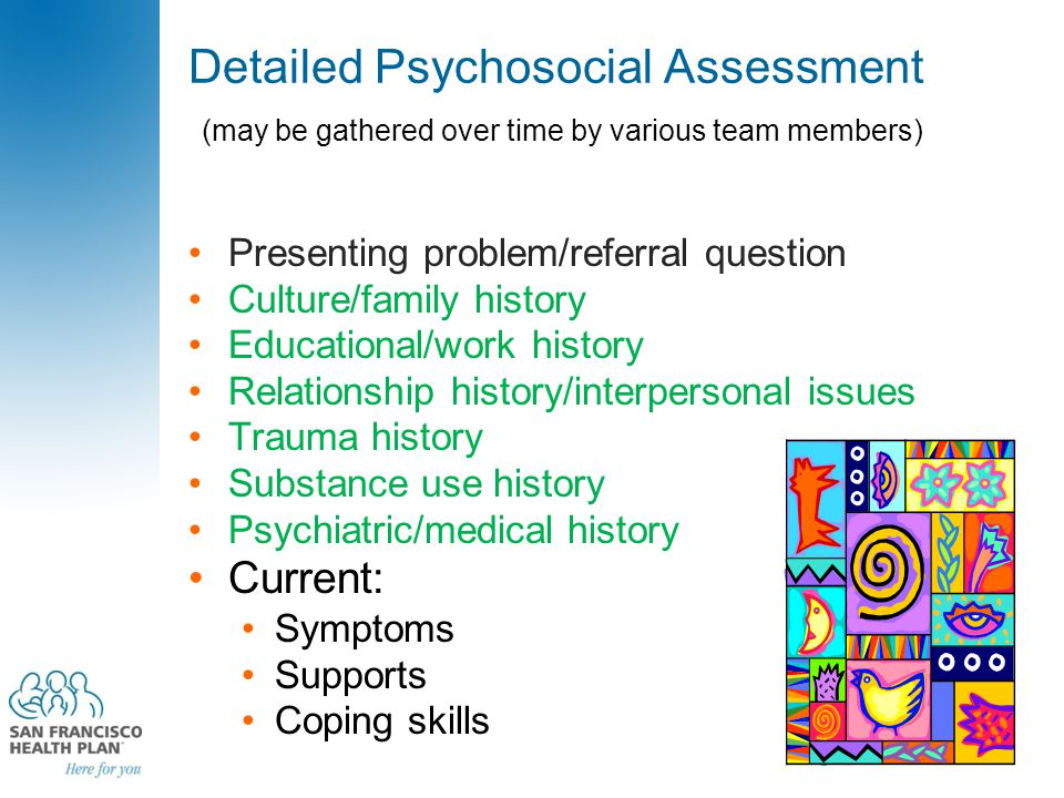 Detailed Psychosocial Assessment (may be gathered over time by various team members) Presenting problem/referral question Culture/family history Educa