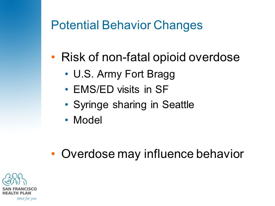 Potential Behavior Changes Risk of non-fatal opioid overdose U.S.