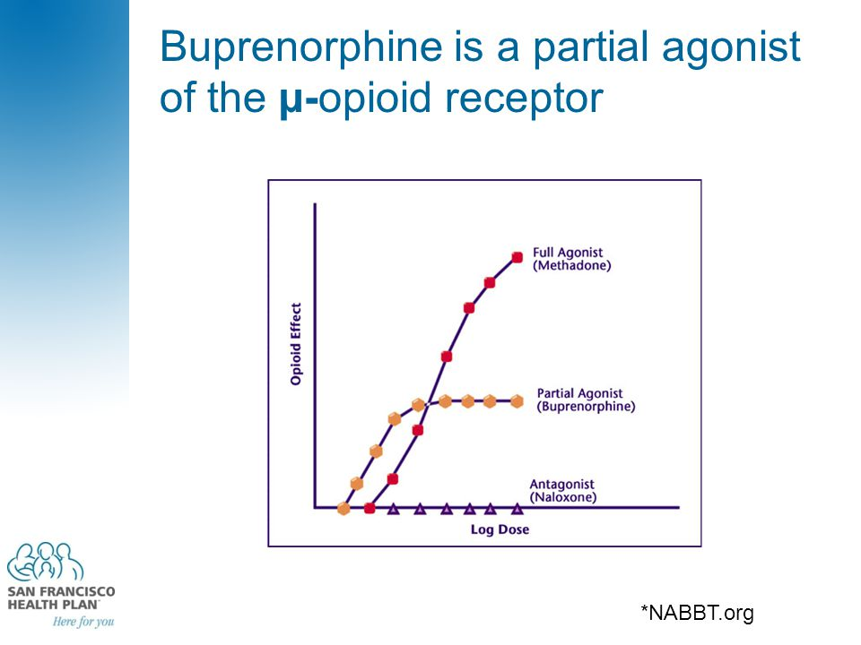 Buprenorphine is a partial agonist of the µ-opioid receptor *NABBT.org