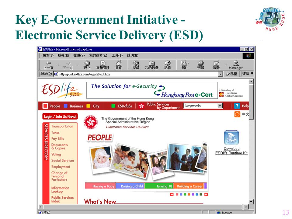 13 Key E-Government Initiative - Electronic Service Delivery (ESD)