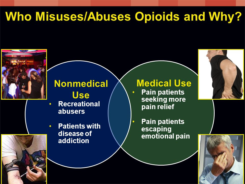 Medical Use Pain patients seeking more pain relief Pain patients escaping emotional pain Who Misuses/Abuses Opioids and Why.