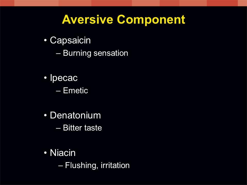 Aversive Component Capsaicin – Burning sensation Ipecac – Emetic Denatonium – Bitter taste Niacin – Flushing, irritation