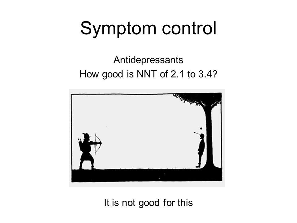 Symptom control Antidepressants How good is NNT of 2.1 to 3.4? It is not good for this