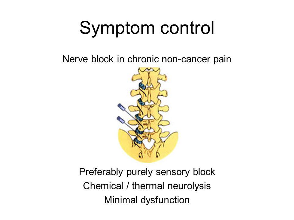 Symptom control Nerve block in chronic non-cancer pain Preferably purely sensory block Chemical / thermal neurolysis Minimal dysfunction
