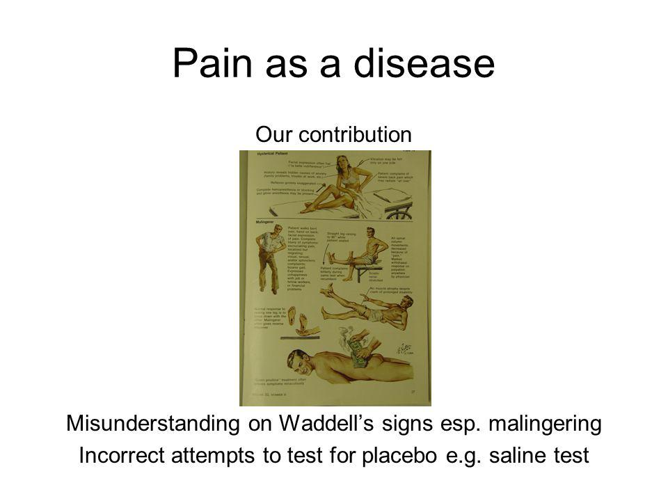 Pain as a disease Our contribution Misunderstanding on Waddell's signs esp.