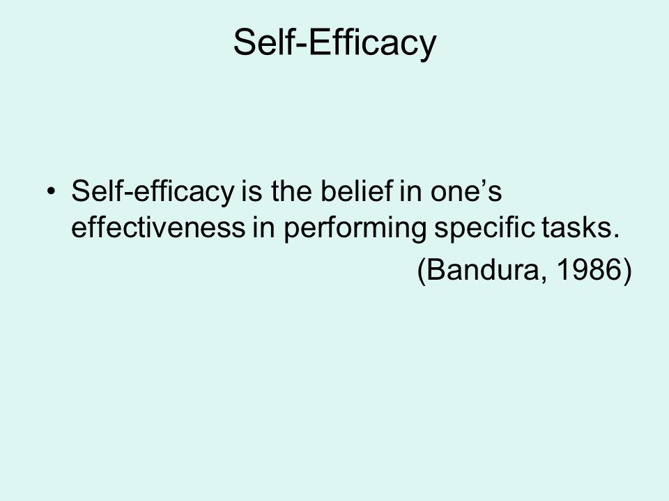 Self-Efficacy Self-efficacy is the belief in one's effectiveness in performing specific tasks.