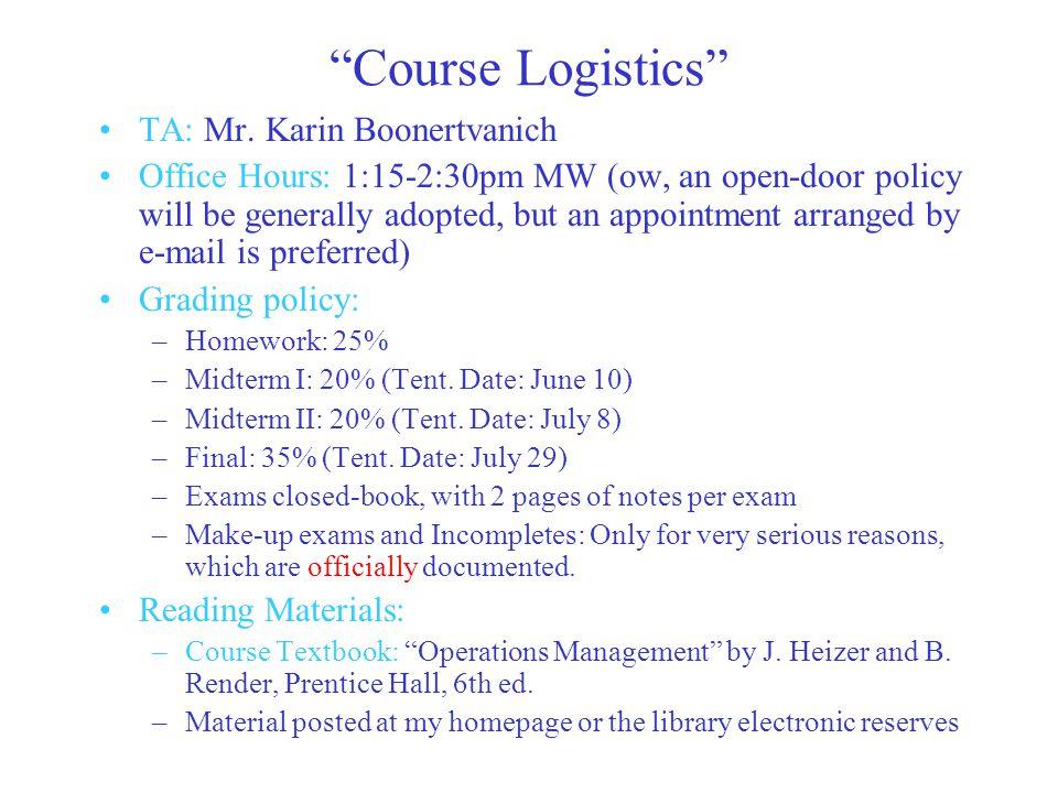 Course Logistics TA: Mr.