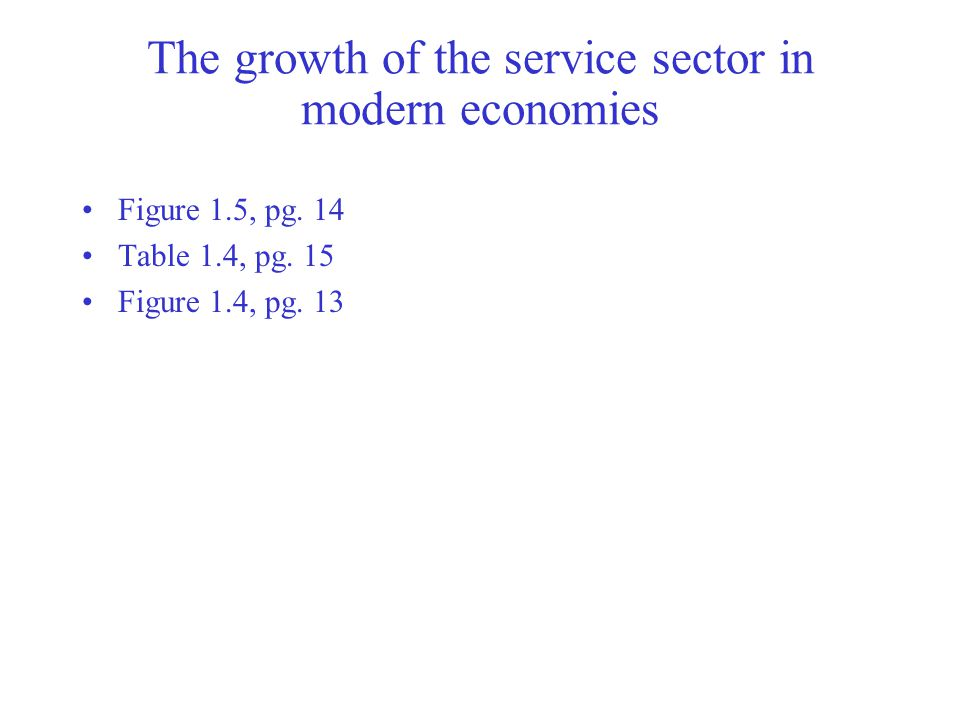 The growth of the service sector in modern economies Figure 1.5, pg.
